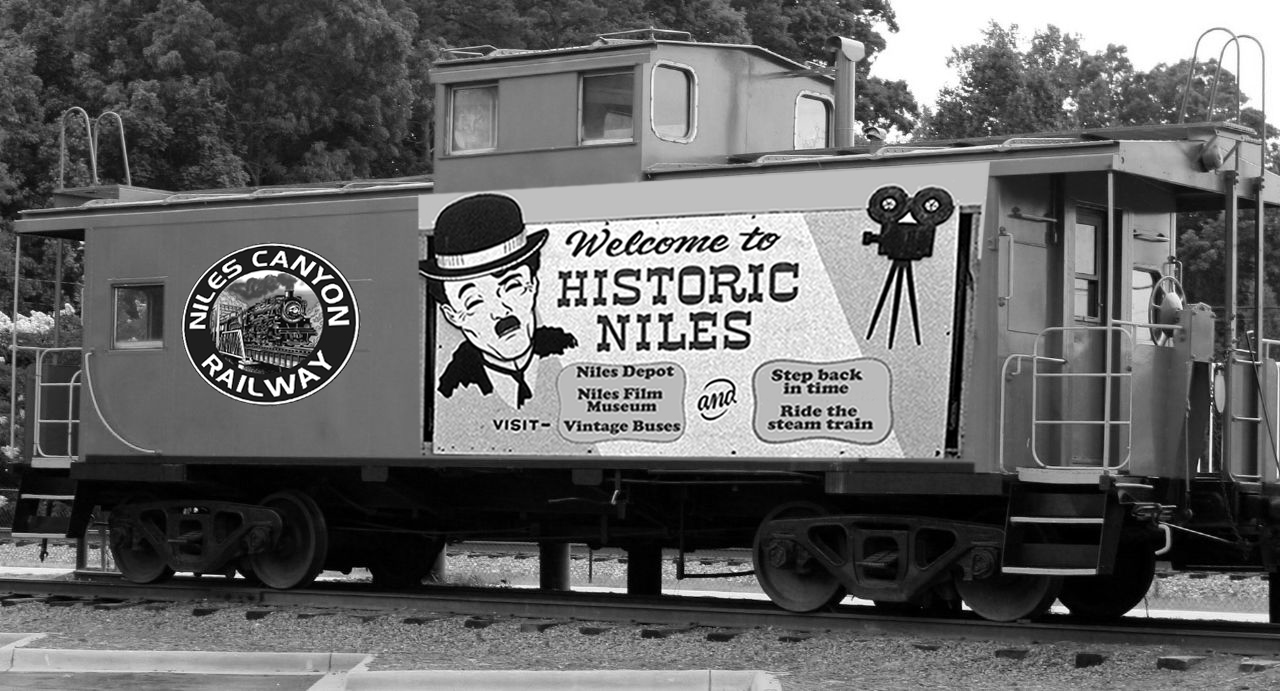 Caboose with Niles Canton Railway logo and welcome to historic Niles